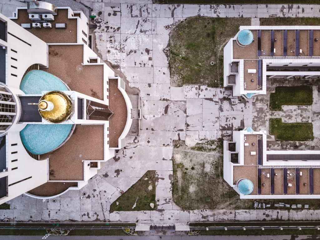 Aerial view of a modern religious complex