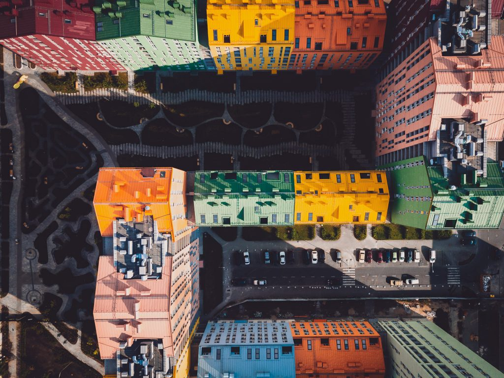 Aerial view of a rainbow-coloured estate