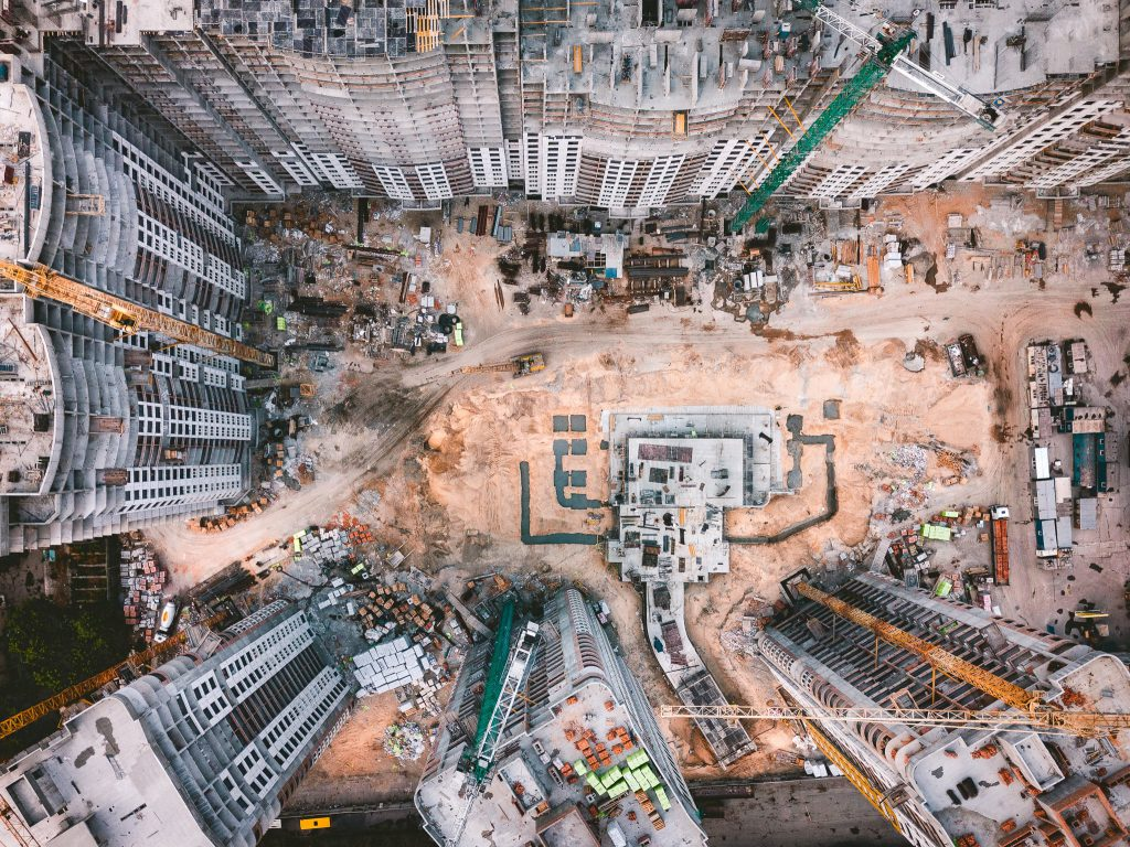 Aerial view of a city block construction