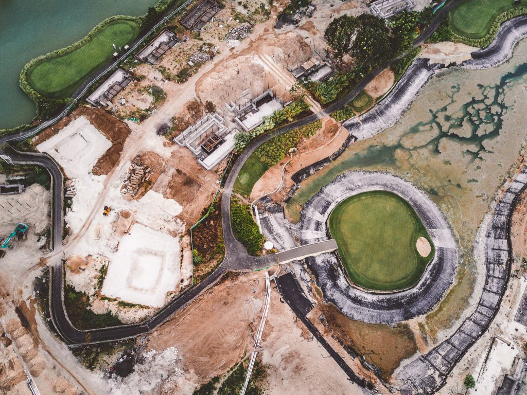 Aerial view of a lake and island construction