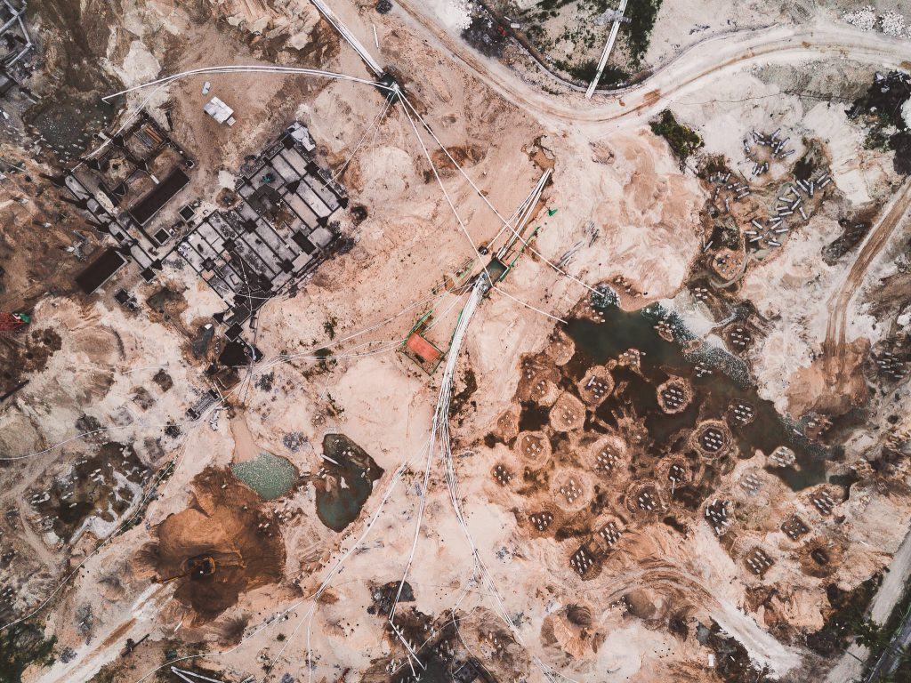 Aerial view of construction groundworks