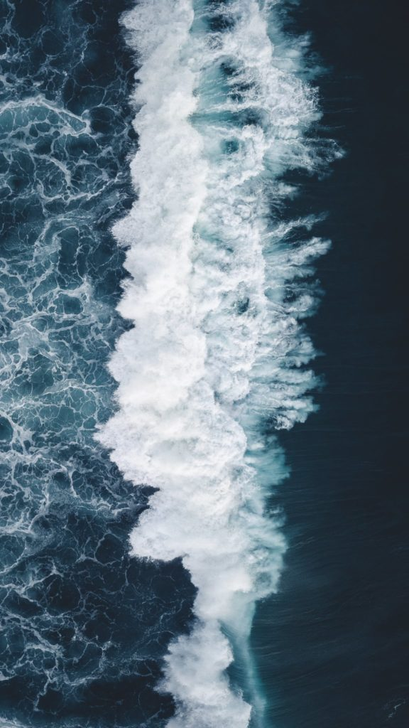 Aerial view of a breaking wave