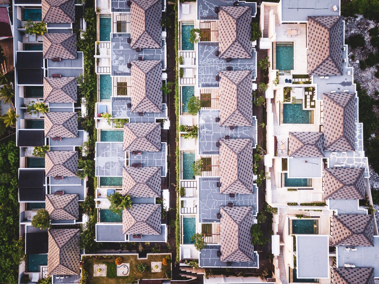 Rooftops of a tropical resort